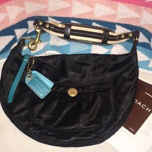 COACH #116 Hampton Black Satin & Leather Hobo